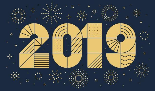 2019+New+year+greeting+card+with+fireworks.+Minimalist+style%2C+geometric+thin+outline.+Vector%2C+eps.10